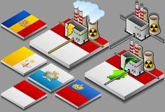 Atomkraftwerk auf der Tastenmarkierungsfahne Stockbilder