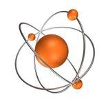 Atomo arancione su priorità bassa grigia Fotografie Stock