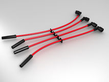 Atomotive cord. Four red automotive cord lying on the plane vector illustration