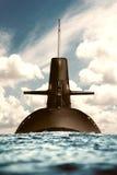 Atomowy okręt podwodny w oceanie. Obraz Stock
