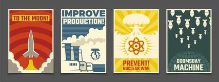 Atomowy wojenny wojskowy, pokojowa astronautyczna kreskówka Ussr i przemysłowi propagandowi wektorowi roczników plakaty, ilustracji