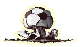 Atompilz in der Form der Fußballkugel stockbild