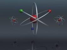 Atoms. Digital Render of three atoms stock illustration