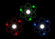 Atoms on black background Stock Image