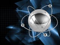 Atoms on blue background Stock Photos