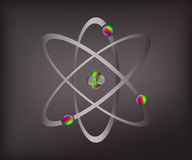 Atoms [Converted]. Simplified model of an atom with protons, neutrons and electrons Stock Photo