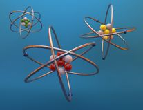 Atoms 3d render illustration, blue background. Royalty Free Stock Photography