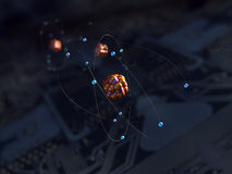 Atoms over circuit. Atoms over a circuit or a motherboard background stock illustration