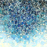 Atoms random. Blue space filled with white atoms Royalty Free Stock Images