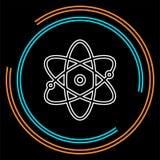 Atomsymbol, atomvektorsymbol, kemi och vetenskapsforskning royaltyfri illustrationer