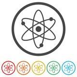 Atomsymbol, 6 inklusive färger Arkivbilder
