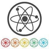 Atomsymbol, 6 inklusive färger Fotografering för Bildbyråer