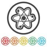 Atomsymbol, 6 inklusive färger Arkivfoton