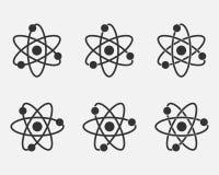 Atomsymbolsuppsättning Kärn- symbol Elektroner och proton Vetenskapstecken Molekylsymbol på grå bakgrund också vektor för coreldr royaltyfri illustrationer