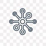 Atomvektorsymbol som isoleras på genomskinlig bakgrund, linjär atom royaltyfri illustrationer