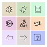 atomy, gumka, książka, znak zapytania, dobro strzałkowaty, lewy, di ilustracja wektor
