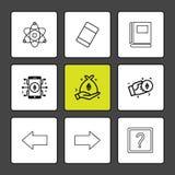 atomy, gumka, książka, znak zapytania, dobro strzałkowaty, lewy, di royalty ilustracja