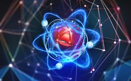 Atoom structuur Futuristisch Concept Nanotechnologie van toekomst Neurale verbindingen van kunstmatige intelligentie stock illustratie