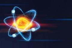 Atoom structuur Futuristisch concept op het onderwerp van nanotechnologie in wetenschap royalty-vrije stock fotografie