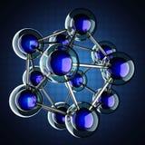 Atoommodel op blauwe achtergrond royalty-vrije illustratie