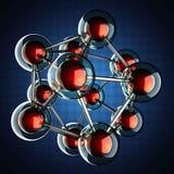 Atoommodel op blauwe achtergrond vector illustratie