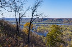 Atop Bluffs of Wyalusing and Mississippi River stock photos