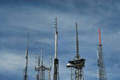Antennas transmitting broadcast signals from Wilson. From atop Mount Wilson near Los Angeles California, old school antennas from various television and radio Stock Image