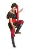 Ator considerável novo em um traje de um guerreiro, o polimento-Lithu fotografia de stock