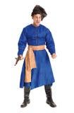 Ator considerável novo em um traje de um guerreiro, o polimento-Lithu imagem de stock