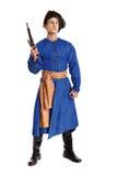 Ator considerável novo em um traje de um guerreiro, o polimento-Lithu fotos de stock royalty free