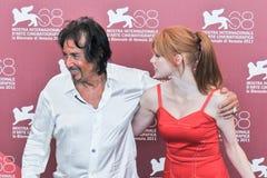 Atores Al Pacino e Jessica Chastain fotografia de stock royalty free