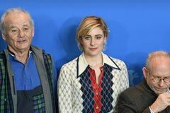 Atores Bill Murray, Greta Gerwig, Bob Balaban em Berlinale 2018 imagem de stock