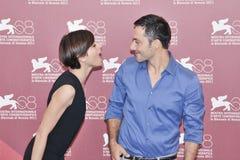 Atores Claudia Pandolfi e Filippo Timi fotos de stock royalty free