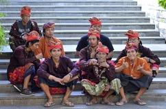 Atores em Garuda Wisnu Kencana Cultural Park foto de stock