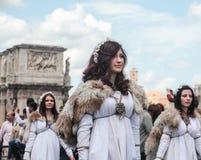 Atores fêmeas na celebração de Roma fotografia de stock