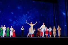 Atores na fase do teatro da ópera de Wroclaw fotos de stock