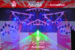 At the Concert of Atostrad colors and light show. Autostrad  writing in Latin and Arabic letters on stage of Dubai Design District Royalty Free Stock Photos
