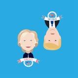 Atout contre Clinton sur un bleu Images stock
