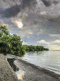AtPunta Jesus Maria do barco de pesca, ilha de Ometepe fotos de stock