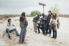 Atrás da cena Cena do filme do película do grupo de filme exterior Fotos de Stock Royalty Free