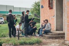 Atrás da cena Cena do filme do película do grupo de filme exterior Foto de Stock Royalty Free