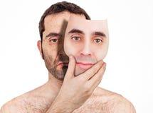Atrás da máscara fotografia de stock
