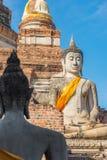 Atrás de sentar buddha Atrás de meditar buddha Ayutthaya Imagem de Stock Royalty Free
