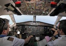 ATR客舱飞行中comm 库存照片