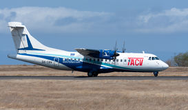 ATR 42 passenger aircraft preparing for takeoff Royalty Free Stock Photography
