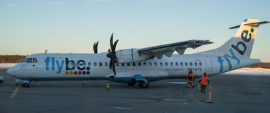 ATR 72. An ATR 72 is getting reading for departure at Kemi airport Royalty Free Stock Photos