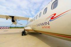 ATR-72 i den Verona flygplatsen Royaltyfria Bilder