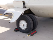 ATR-72 landing gear , standing on the airfield Stock Photography
