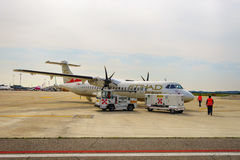 ATR-72 in Verona airport. VERONA, ITALY - SEPTEMBER 15, 2014: ATR-72 in Verona airport. The ATR 72 is a twin-engine turboprop short-haul regional airliner built Stock Image