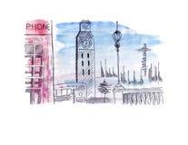 Atração do esboço da ilustração da capital de Inglaterra Londres: Ônibus de dois andares, torre de pulso de disparo da torre da p Imagem de Stock Royalty Free